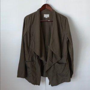 Caslon Olive Tencel Drape Front Utility Jacket M